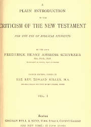 A Plain Introduction to the Criticism of The New Testament (1)