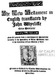 The New Testament in English Translated by John Wycliffe