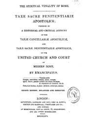 The Spiritual Venality of Rome Taxe Sacre Penintentiarie Apostolice