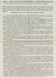 Nos los Inquisidores Apostólicos Contra la Heretica Pravedad y Apostasía, Villas, el 29-05-1819