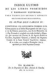 Índice Último de los Libros Prohibidos y Mandados a Expurgar (1,790)