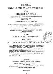 The Venal Indulgenees and Pardons of the Church of Rome