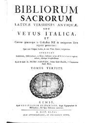 Bibliorum Sacrorum Latina Versiones Antiqua seu Vetus Italica (3)